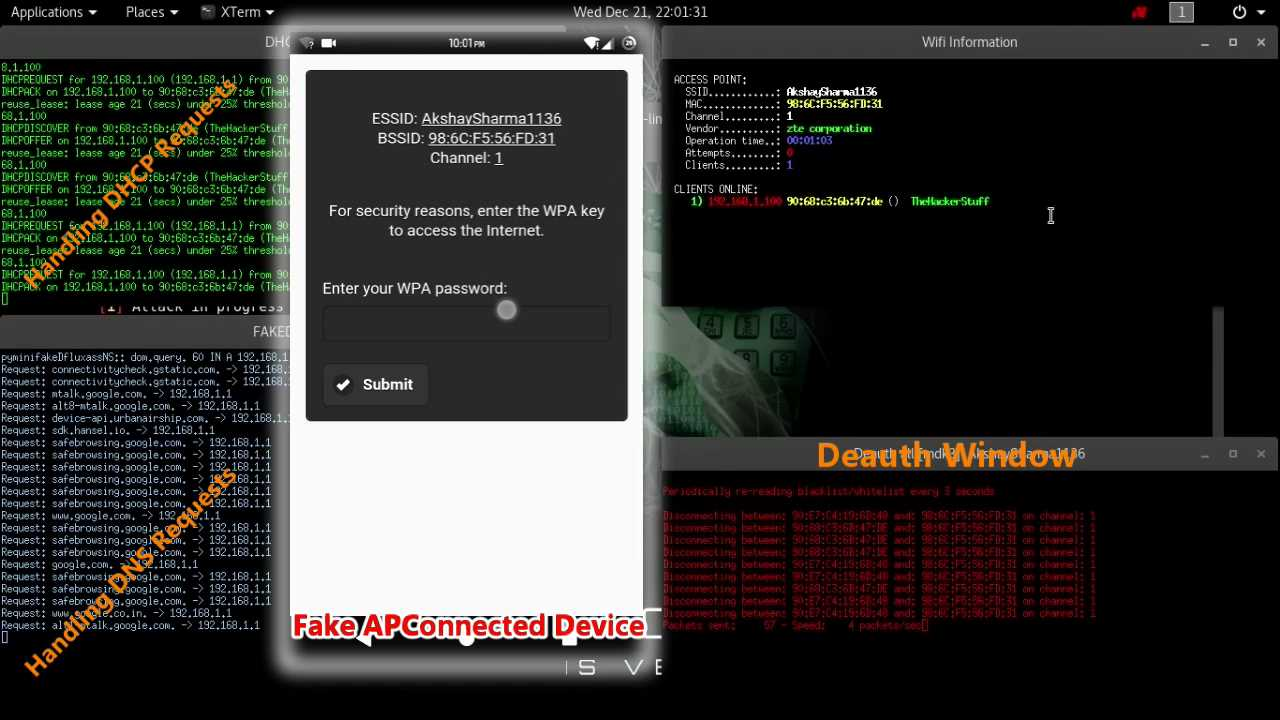 Kali Linux - Fluxion - Hacking WiFi Passwords Without Bruteforce-Dictionary Attack