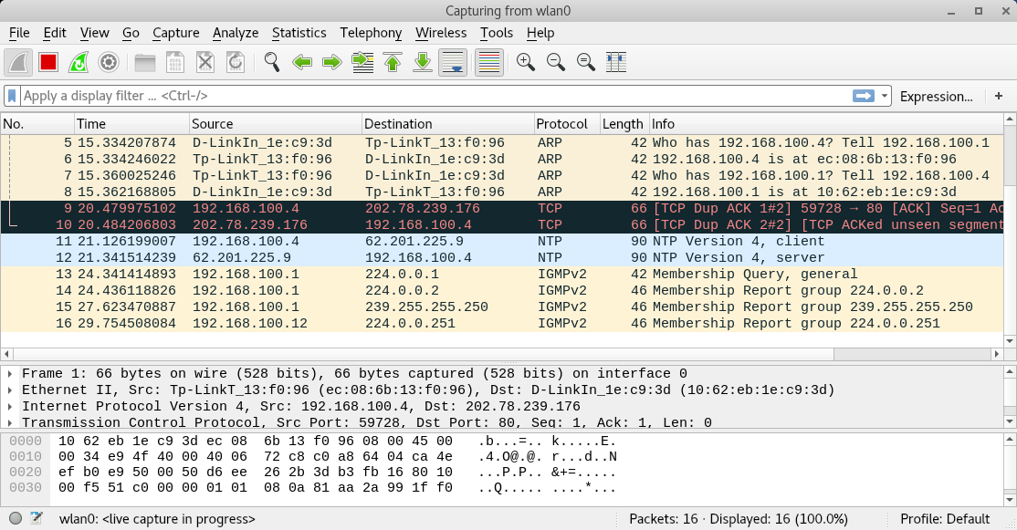 wireshark sniffing tool